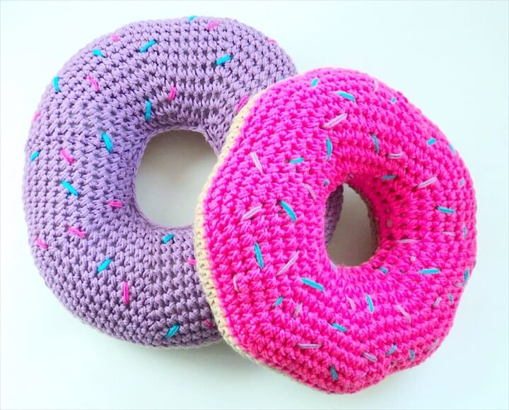 Crochet Donut Pillow with Sprinkles