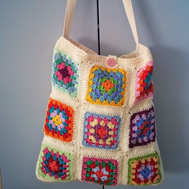diy crochet flower tote bag design