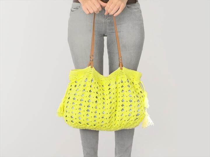 Lime Yellow Bag Crochet Bag Handmade Bag Celebrity