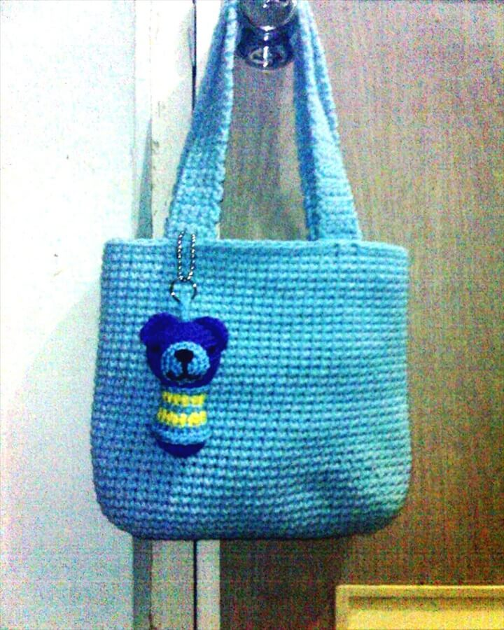 Crochet Blue Rugged Tote Bag