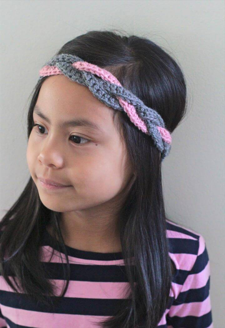 diy crochet braided headband