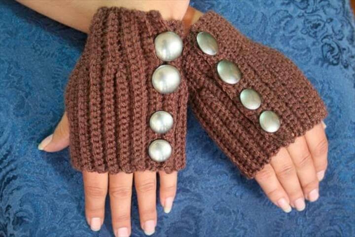 crochet women's gloves