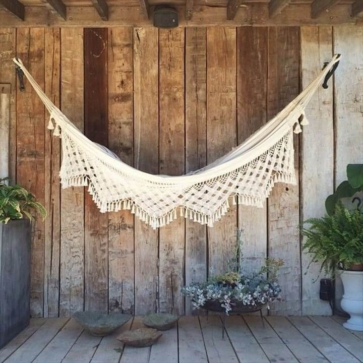 white crochet diy hammock