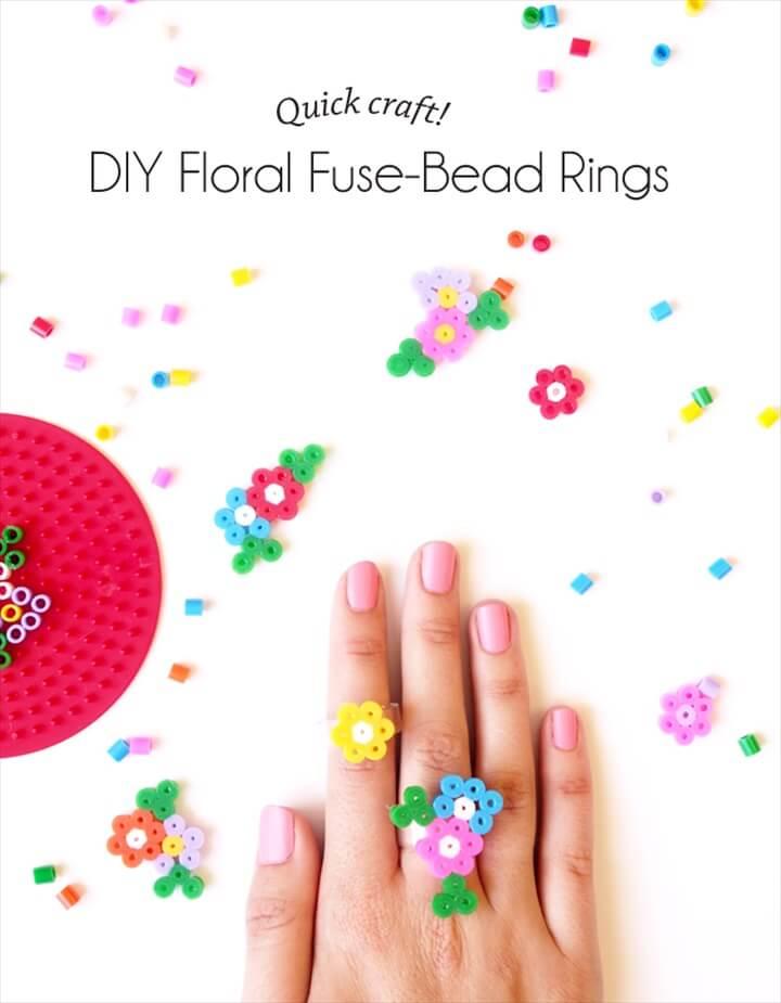 DIY Floral Fuse Bead Rings