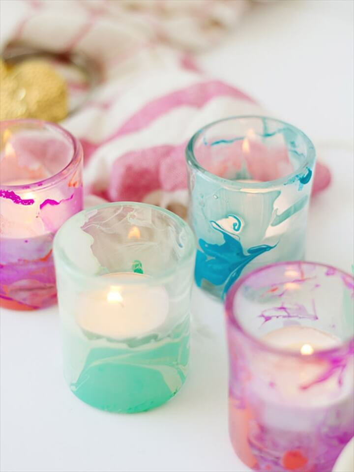 Marbled DIY Candle Votives