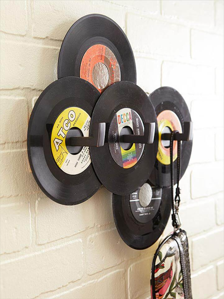 Diy record hat rack