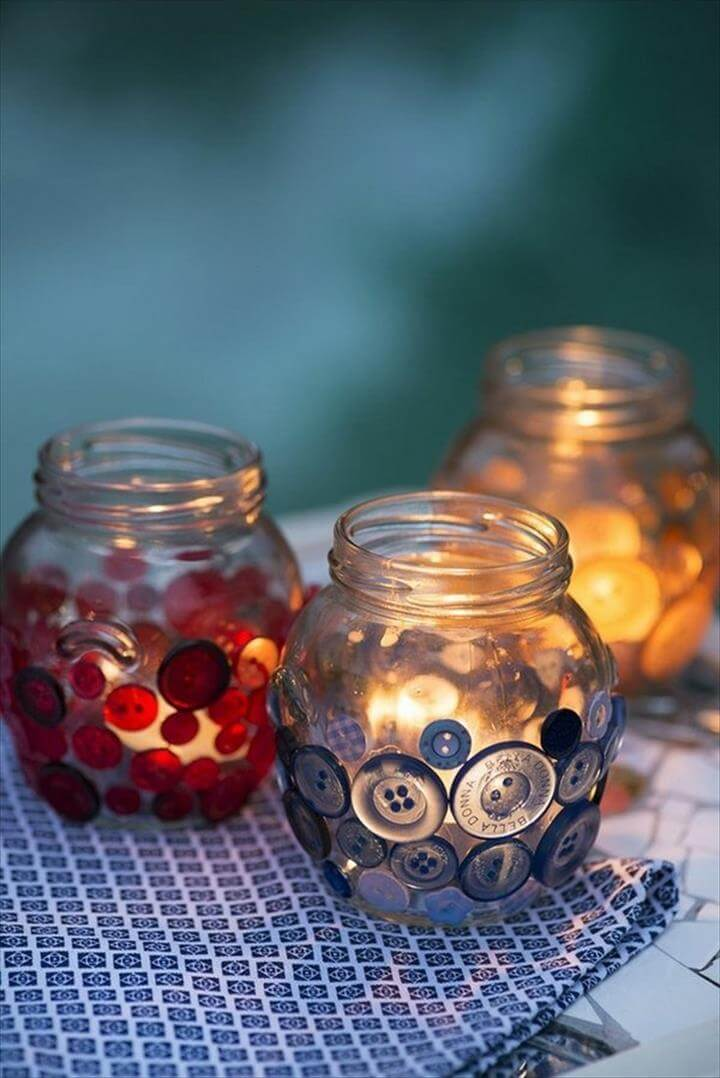 home decor ideas DIY lantern ideas crafts with buttons