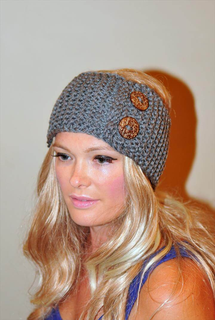 Earwarmer Buttons Head wrap WOOL Crochet Headband Ear warmer Gray Grey Dark Gray Warm Hair Band