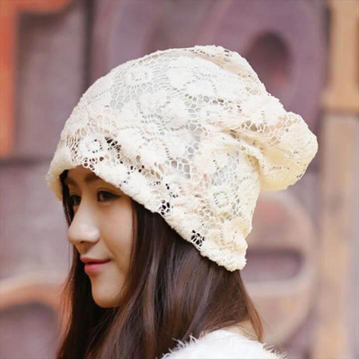 Cute Design Knit Beanie Hat for Girls Crochet Flower Pattern Beanie
