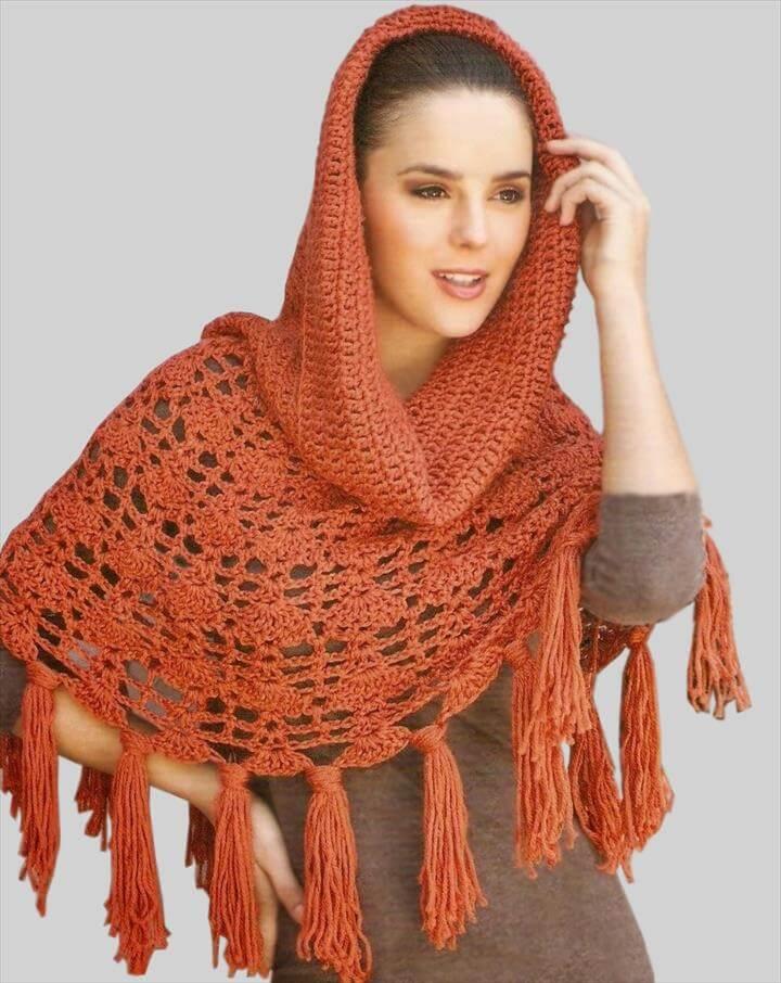 Crochet poncho PATTERN, warm crochet hood pattern, crochet cape.