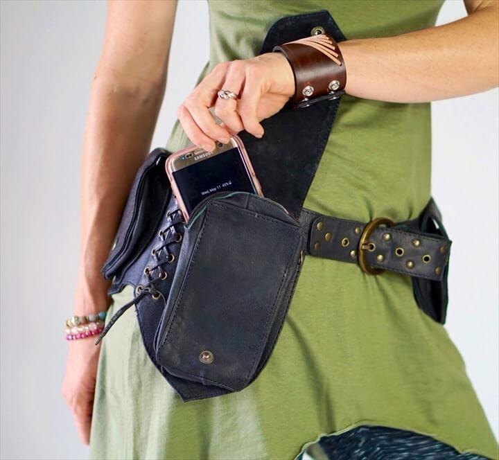 LEAF BELT BLACK Handmade Leather Utility Belt With Pockets Renaissance Festival Hip Pockets Festival Belt Burning