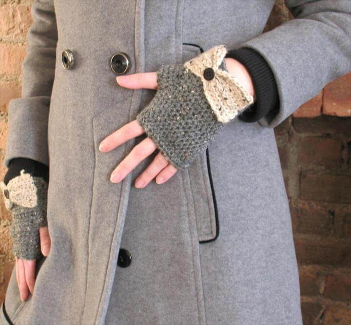 Fingerless Gloves- Gray Tweed