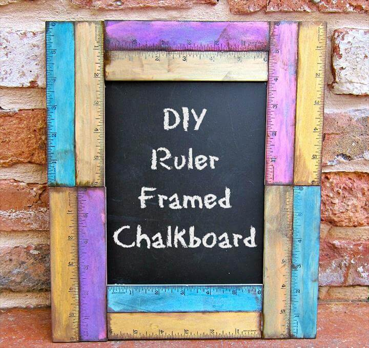 Ruler Framed DIY Chalkboard from Crafts Unleashed.