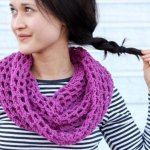 LACE KNIT CROCHET WINTER SCARF