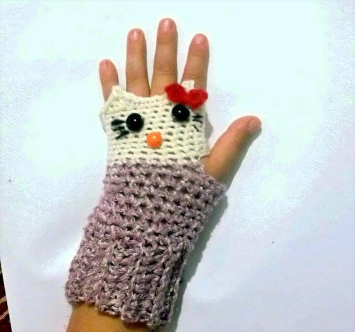 Hello Kitty Fingerless Gloves Crochet Pattern