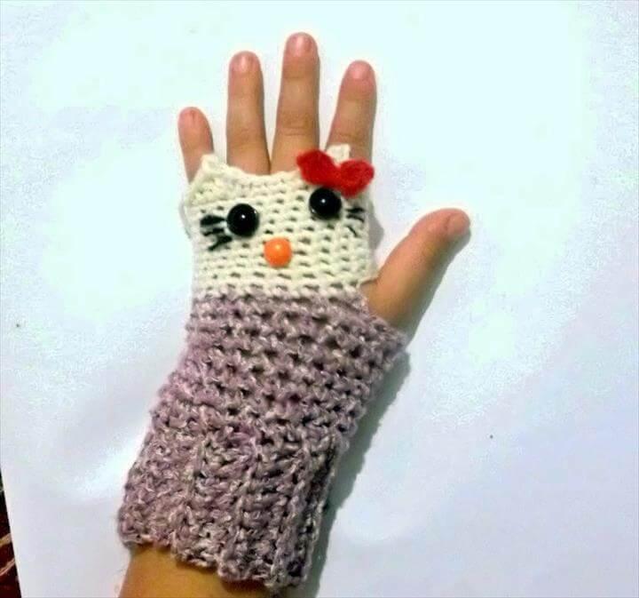 Hello Kitty Fingerless Gloves Crochet Pattern