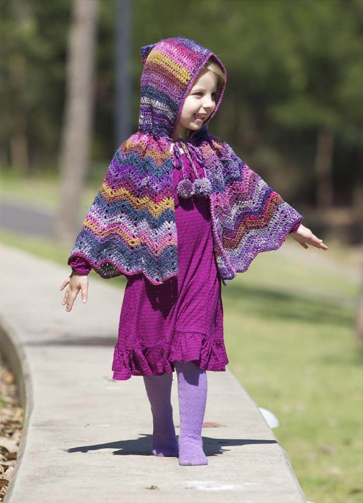 Hooded Toddler Crochet Cape