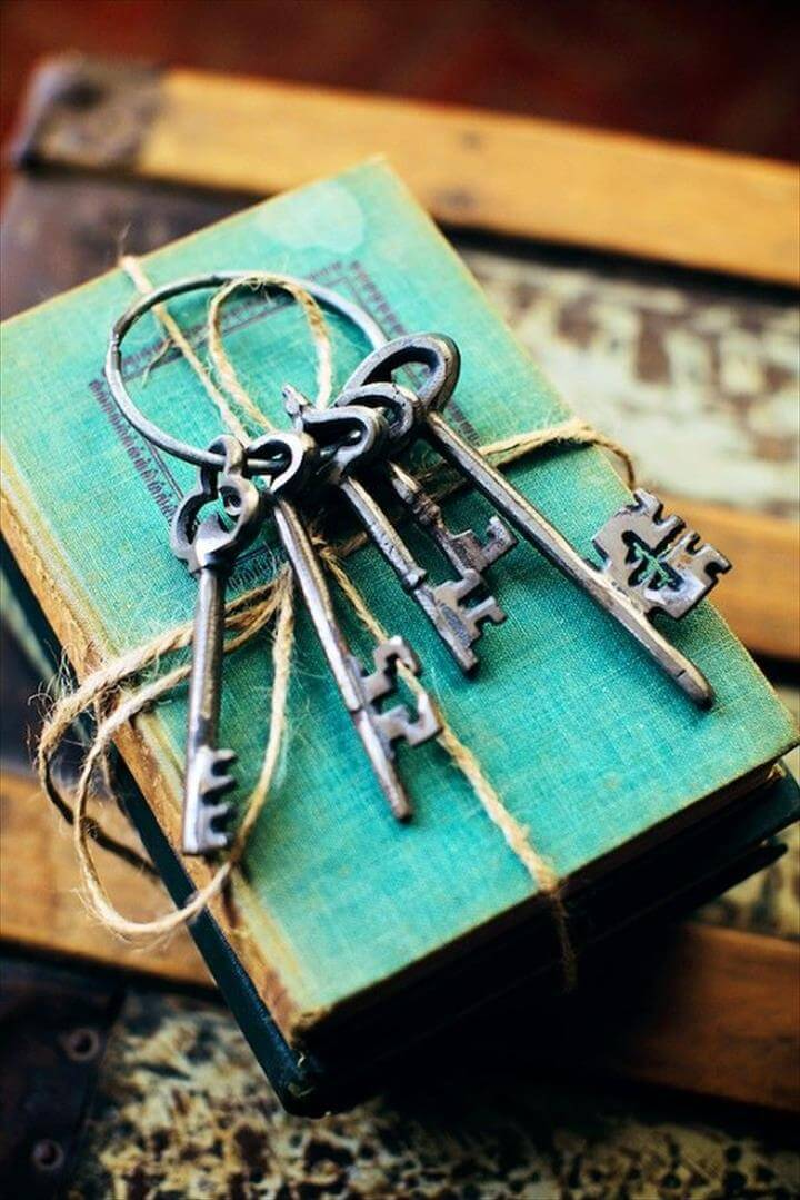 antique small touches such as worn books and keys can: Old Keys, Ideas,
