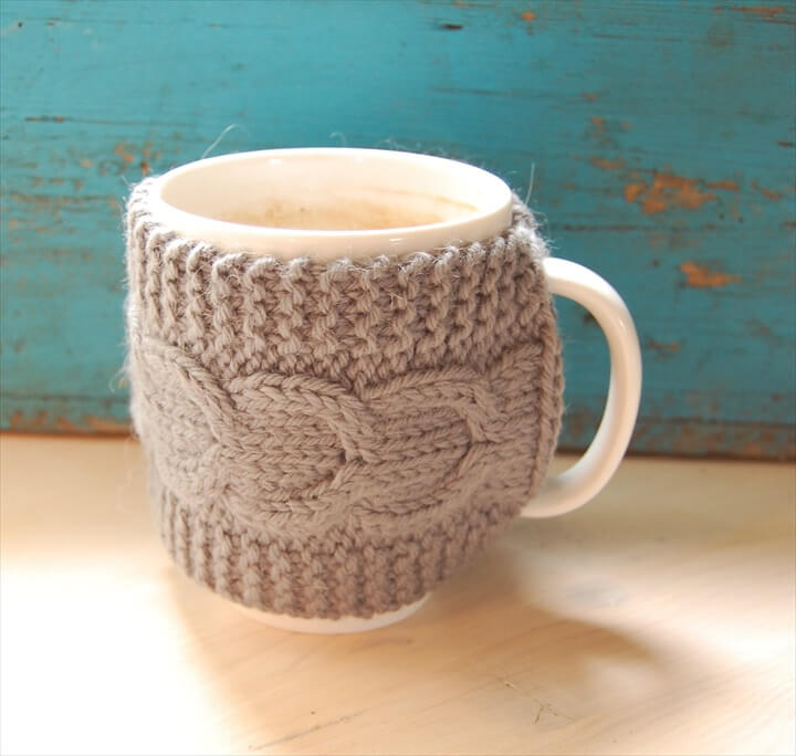 Knit coffee mug cozy