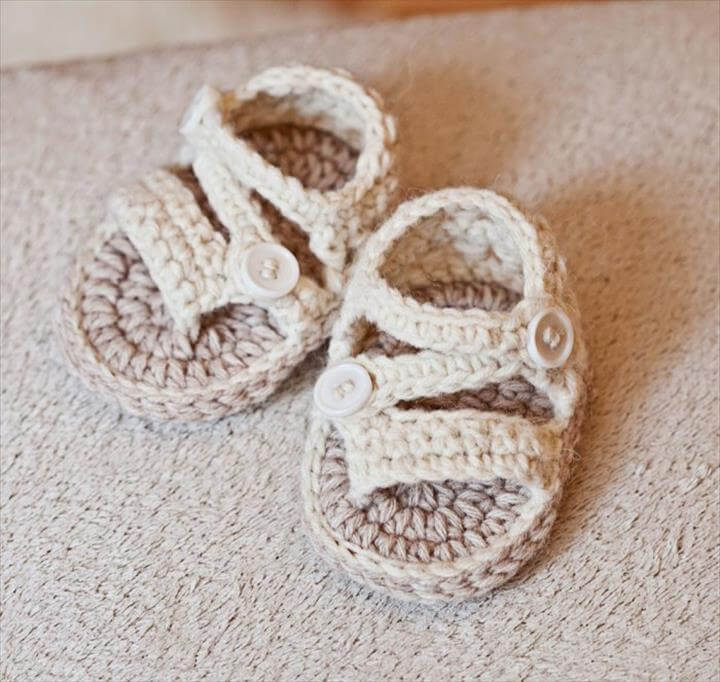 light color crochet sandals