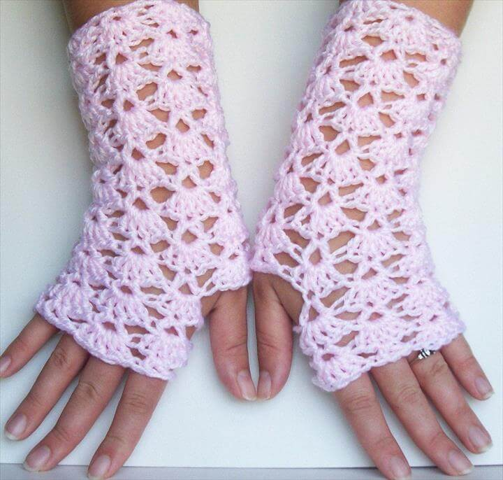 Light Pink Crochet Lace Fingerless Gloves For Texting and Driving Handmade