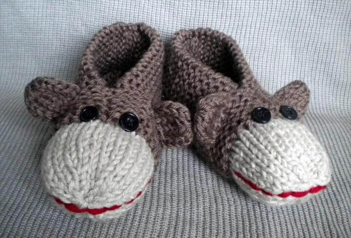 Knit Monkey Slippers
