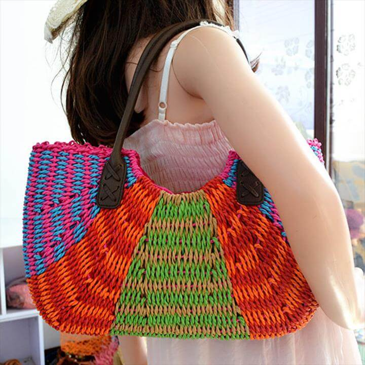 New Fashion Large Crochet Straw Bags To Decorate Vintage Tote Woven Beach Bag Women Summe