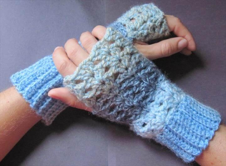 diy crochet dyed fingerless gloves