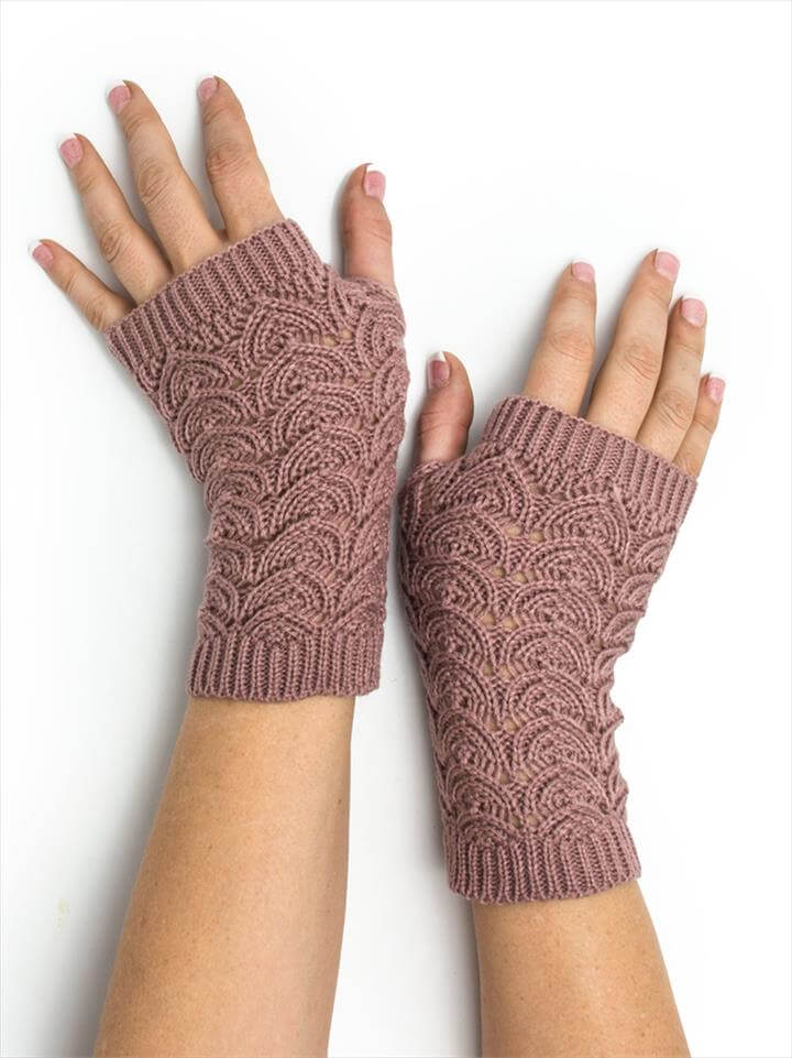 Maeve Scallop Open Lace Crochet Pattern Fingerless Gloves