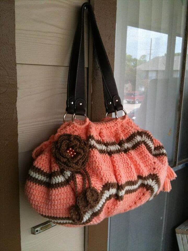 Peach Crochet Tote Bag Look Like Clutch