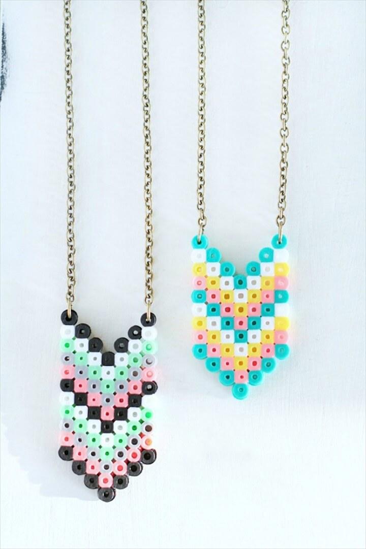 DIY Perler Bead Necklaces