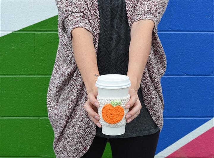 Crochet Pumpkin Coffee Cup Cozy Free Crochet Pattern