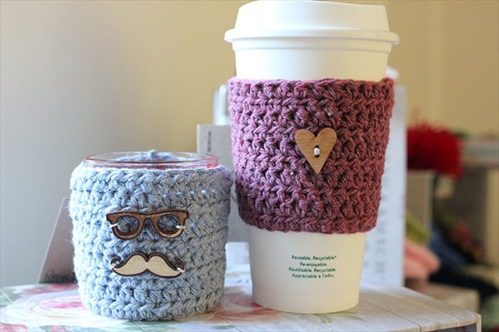 Cup Cozies Recycled Denim Cup Sleeve-Free Crochet Pattern-Crochet