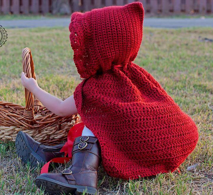 adorable little red riding hood crochet cape