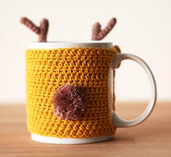 Reindeer Crochet Mug Cozy