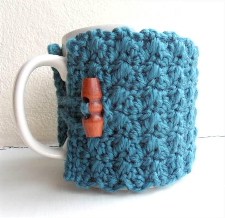 Crochet Mug Cozy Cup Cozy Teal Blue Yarn Wooden Toggle