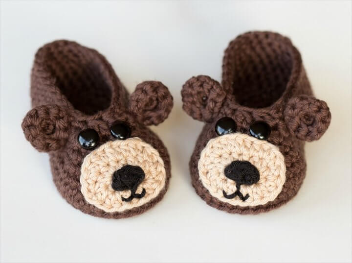 Teddy Bear Baby Booties Crochet Pattern
