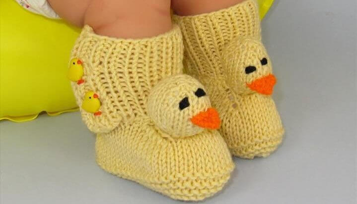 Baby Chick Booties FREE Knitting Pattern