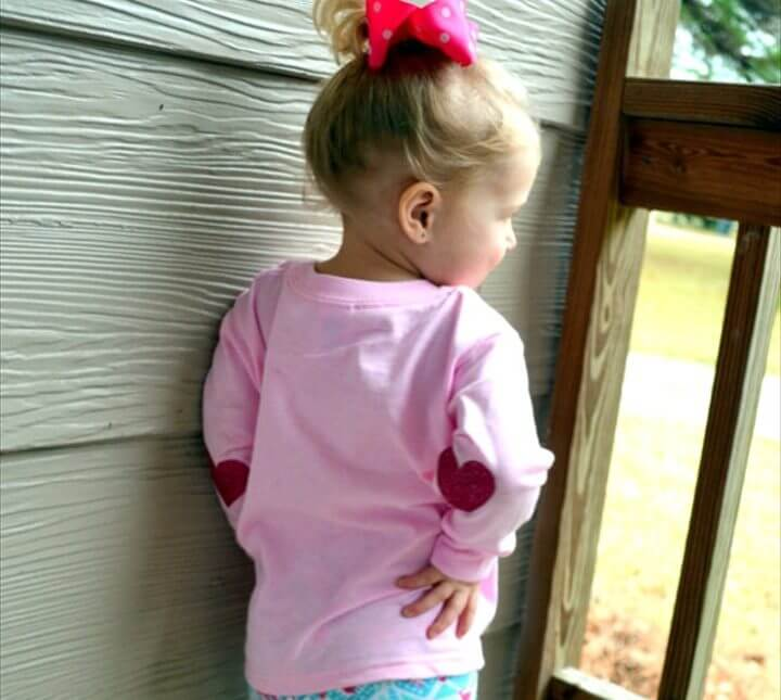 Sequin Heart Elbow Patch,Toddler Valentine's Day Shirt with Heart Elbow Patches