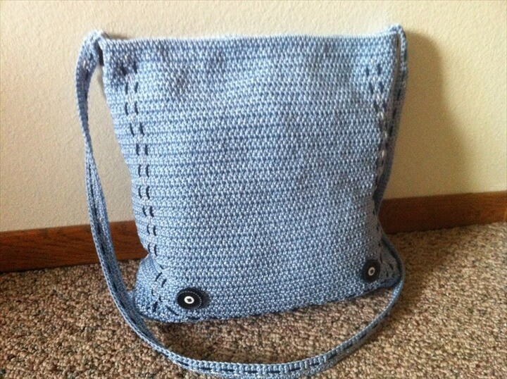 Blue Crochet Purse Shoulder Carpet Bag