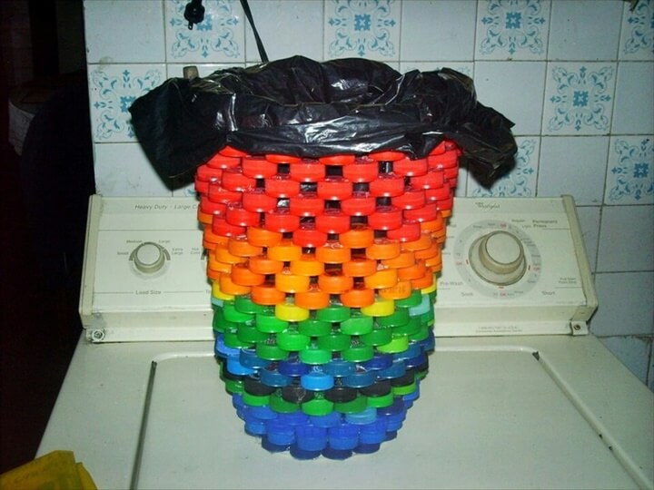 Made from hot glued plastic bottle caps!