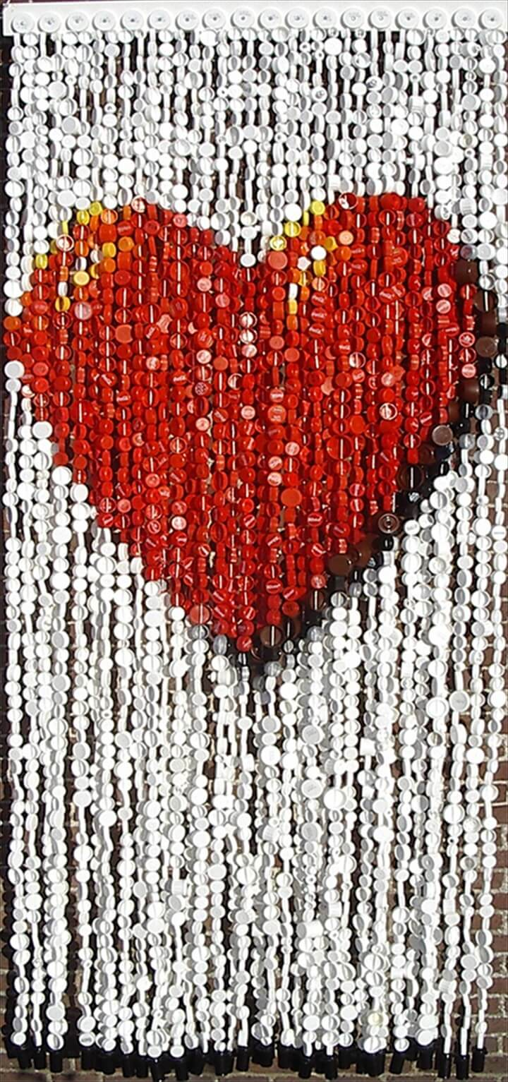 colourful curtain made from recycled plastic bottle tops caps