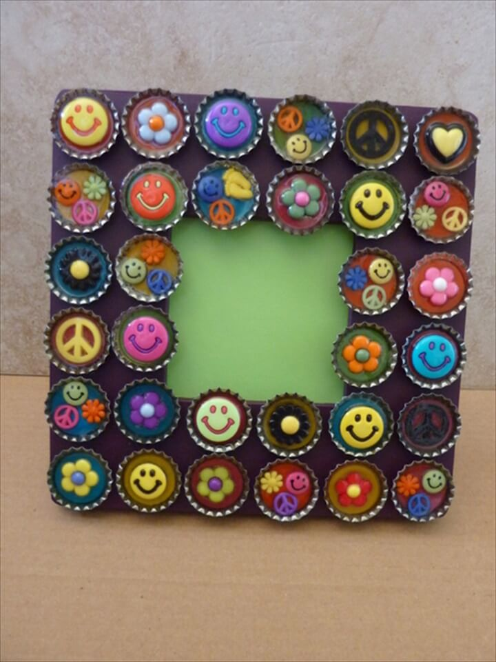 diy bottle cap frame