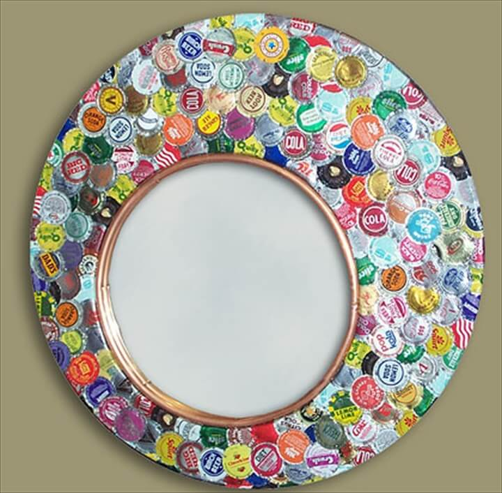 Bottle Cap Wall Art diy bottle cap craft necklace art ideas13
