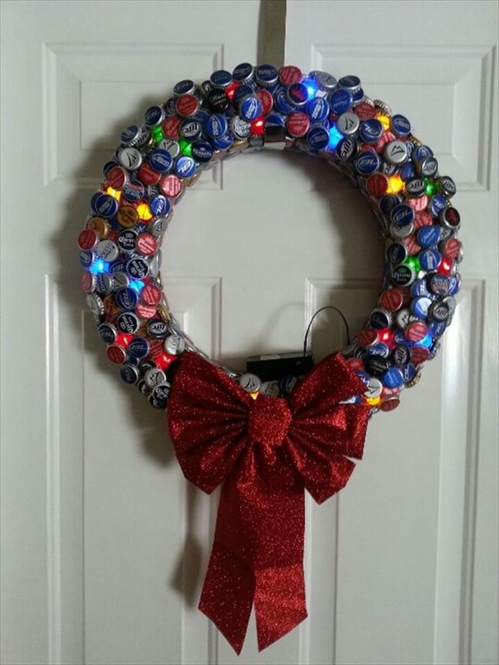 Bottle cap Christmas wreath,
