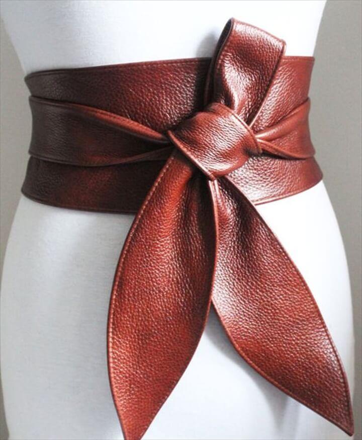 Rich Brown Leather Obi Belt tulip tie|