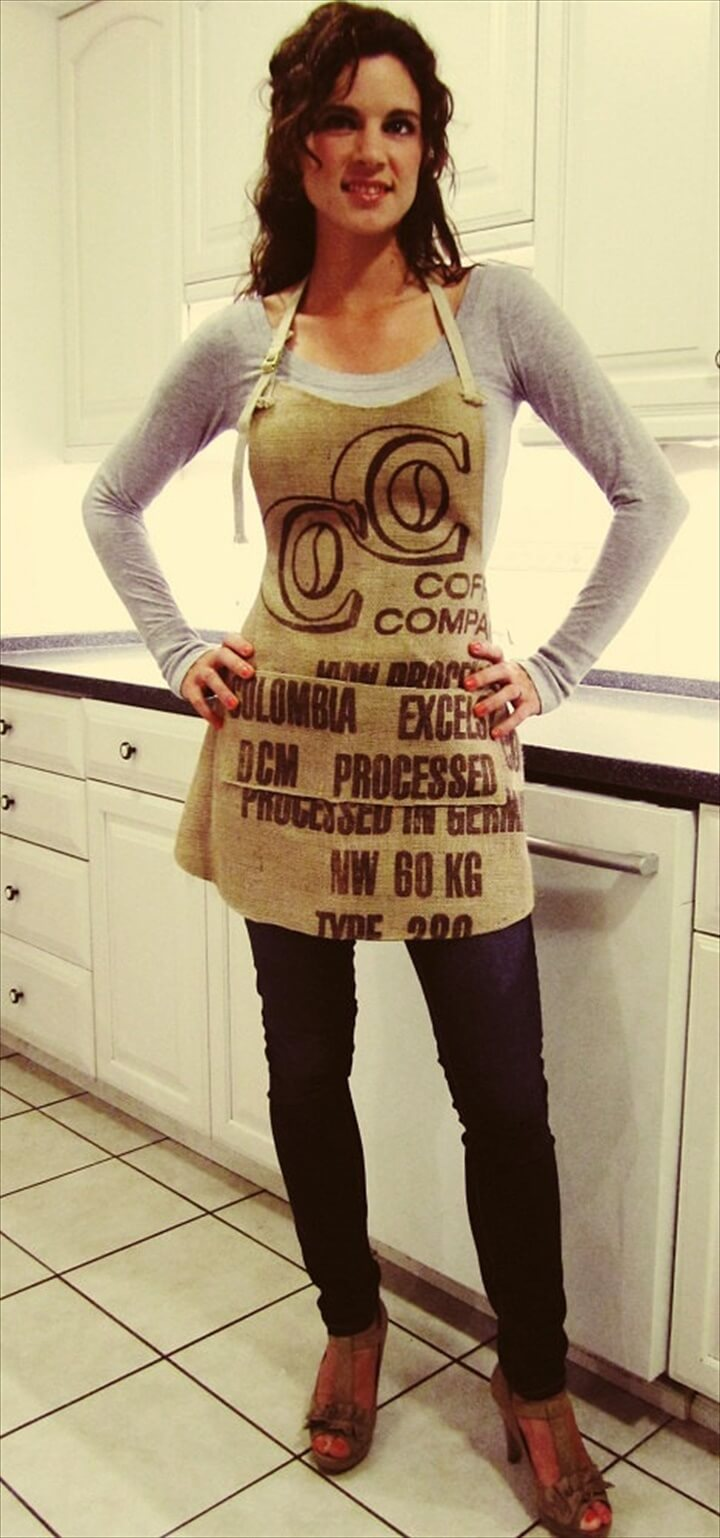 Burlap Apron with Pockets, Coffee Sack Apron