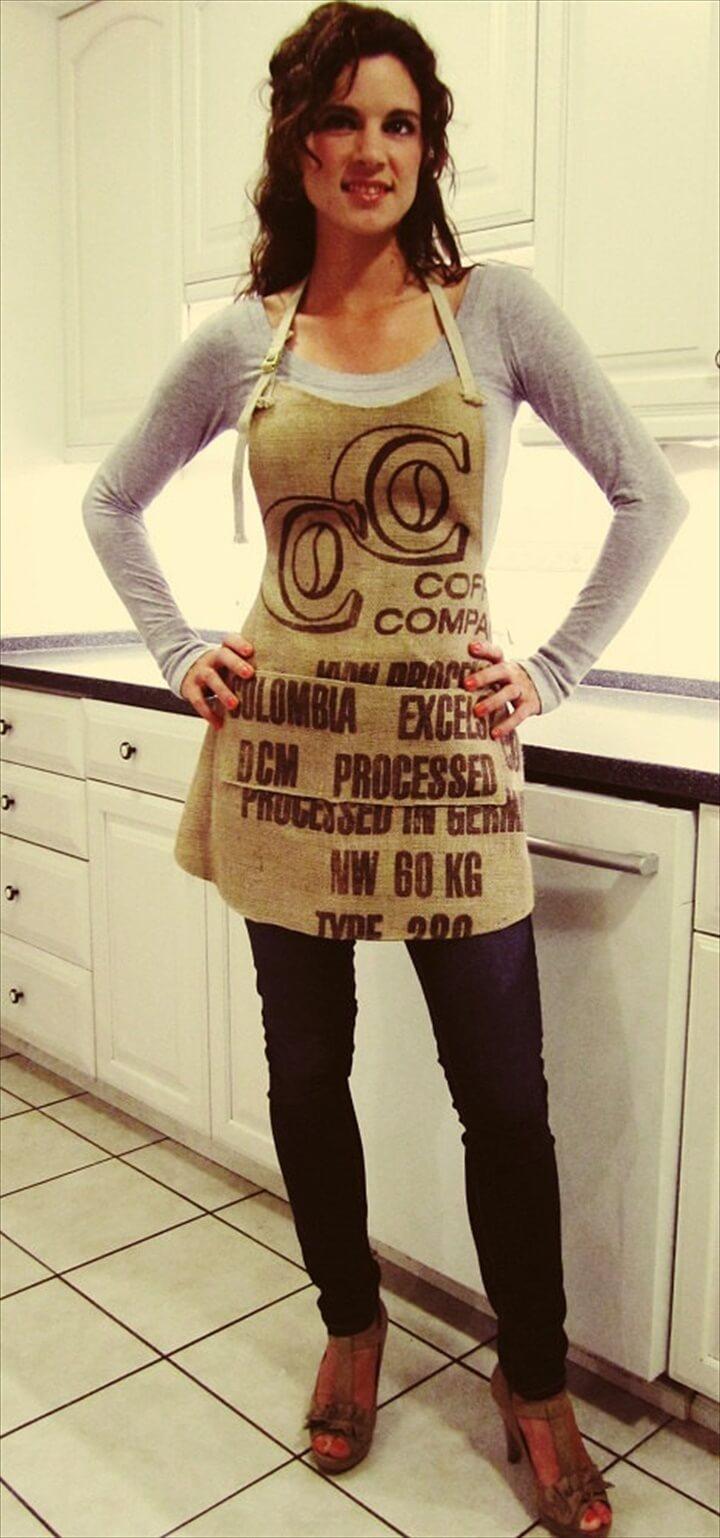 Burlap Apron with Pockets, Coffee Sack Apron