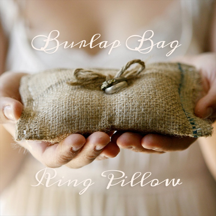 burlap bag ring pillow