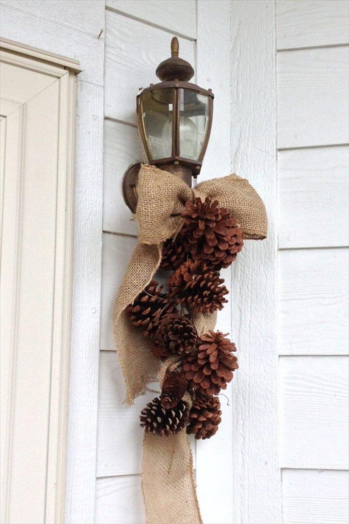 Burlap Bow & Pine Cones